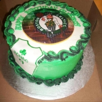 "Boston Celtics Cake   8"" strawberry/pineapple marble cake with buttercream icing and fondant accents. Done for a Boston Celtics fan. TFL!"
