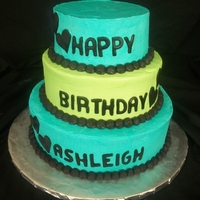 Bright Blue And Green15Th Birthday Cake