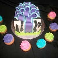 Zebra Gift Box Cake   Zebra gift box cake with colourful cupcakes for a 30th birthday party.