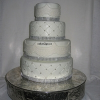 Simpe White With Lace Wedding Cake Simpe White with Lace Wedding Cake