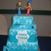 Damask Blue Wedding Cake Oakville Ontario By Cakes2Go.ca Damask Blue Wedding Cake Oakville Ontario by cakes2go.ca