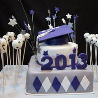 Grad Cake With Soccer Ball And Running Shoes Pops Grad Cake with soccer ball and running shoes pops