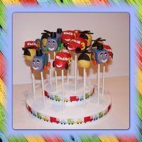 Thomas Lightning Mcqueen And Helicopter Cake Pops Thomas, Lightning McQueen and Helicopter cake pops