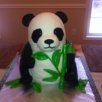 Panda Cake   2- 8 inch rounds, 2- 6 inch rounds and a mini sports ball pan stacked and carved. RKT for nose and feet/paws