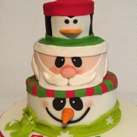 Christmas Cake Snowman, Santa and Penguin cake