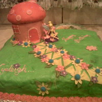 Tinkerbell   toadstool house with tinkerbell sitting outside next to the path