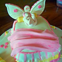 Baby In Bed With Butterfly Wing Headboard   baby in bed..made for a baby christening