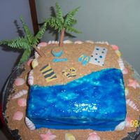 Quiet Beach Cake   this one is vegan made with edible shells, sand, coconut trees, towels and flip flops to match. All handmade and completely edible