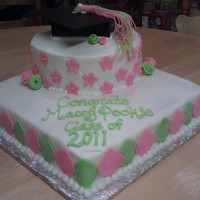 Pink And Lime Green Grad Cake