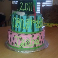 Blue Zebra Strawberry cake with grad cap ans diploma