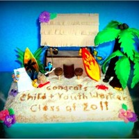 Tiki Bar Graduation Cake beach sand tiki bar palm tree tropical