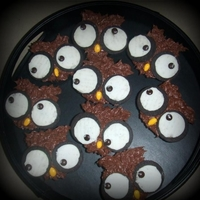 Owl Cupcakes Used opened oreos for eyes with mini M&m's and candy coated sunflower seeds for noses! :)