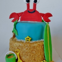 Beach Birthday Mini cake with fondant decorations