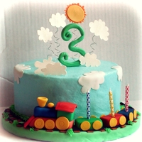 "Chuga-Chuga-Choo-Choo! Train cake for my sons' 3rd birthday. 8"" round chocolate, chocolate chip with classic vanilla buttercream. I modeled the plane..."