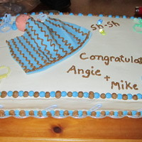 Boy Baby Shower Cake Marble cake, custard and fresh strawberry filling. Vanilla BC icing. Fondant baby and blanket. I don't use fondant for anything other...