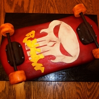 Skateboard The board itself is carved cake. The wheel supports and wheels are RCT and the rods are dowels. The skull and name are gumpaste. I wanted...