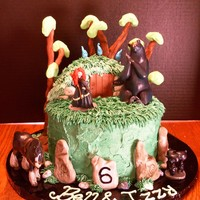 Brave Cake For 6 Year Old Twins Trees Are A Wire Structure With Fondant And Modeling Chocolate Molded On Top Brave cake for 6-year-old twins. Trees are a wire structure with fondant and modeling chocolate molded on top.