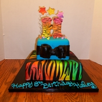 Rainbow Zebra Both tiers were covered in fondant, and the lower tier was white then sprayed with Wilton Color Mists (I don't have an airbrush). The...