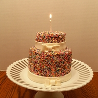 Sprinkles Cake I've seen these on Pinterest and really wanted to try one. It was super easy. I used a method I found here where you ice only the...