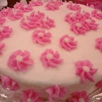 My First Wilton Class Cake Flowers are made out of royal icing & the cake is butter-cream icing.