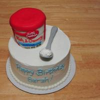 A Frosting Lover's Birthday Cake Betty crocker frosting can made from RKT covered in fondant. I iced the cake with my own recipe of cream cheese frosting. The spoon is made...