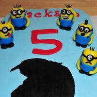 Despicable Me Chocolate cake with vanilla buttercream. All accents made of gumpaste and fondant. TFL