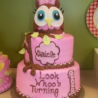 Look Whoo's Turning 1 2 tier cake covered w/buttercream, and a sculpted fondant/gumpaste owl.