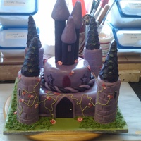 "Princess Castle This is a rich chocolate cake that i made for my daughters 10th birthday. It was a 8"" square base, 6"" round, with swiss rolls..."