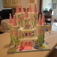 Princess Castle Chocolate cake with buttercream icing. 12 and 10 inch hexagon