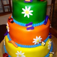 Flowers And Bugs colorful fondant cake, airbrushed