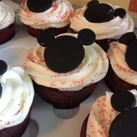Mickey Mouse Chocolate Cupcakes With A Mint Infused Buttercream And Black Fondant My First Time Using Fondant Mickey Mouse - chocolate cupcakes with a mint infused buttercream and black fondant (my first time using fondant)