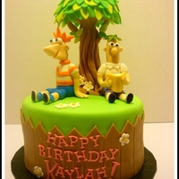 Phineas & Ferb Phineas and Ferb cake made with fondant details.