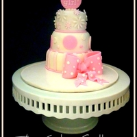 """it's A Girl"" Caketini A mini fondant cake with fondant elements. Chocolate cake with Vanilla butter cream."