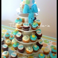 "1321838851.jpg ""Pitter Patter"" caketini (mini cake) with matching cupcakes."