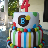 Polka Dot & Stripe Birthday Cake