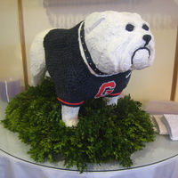 "Uga Cake 2 This bride had seen our ""Uga"" cake in his regular red jersey and she wanted to change things up a bit, so we dressed him in his..."
