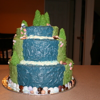 3D Waterfall Cake Top tier: Carrot Cake, Bottom two tiers: SyrofoamMade for county cake competition. Won first!