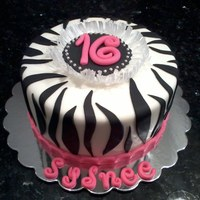 Last Minute Sweet 16 Cake Pink And White Zebra Striped Cake Rice Paper Frill Around 16 Medallion Last minute sweet 16 cake. Pink and white zebra striped cake. Rice paper frill around 16 medallion.