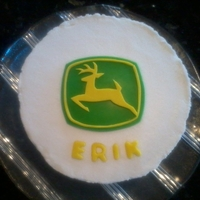 John Deere Logo Cut out of fondant and gumpaste with an exacto knife.