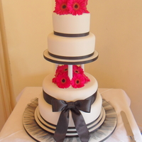 Fusia Pink Gerbera Wedding Cake My friends wedding cake which had a fusia pink theme
