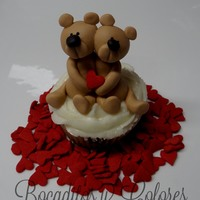 Beary Happy Valentine's Day! Lemon chocolate chip blueberry cupcake with white chocolate buttercream