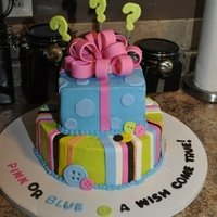 It's A ......? Gender Reveal cake......being that the couple only found out the gender the day before needing the cake, I just tinted the filling pink for...