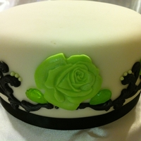 Black, White, And Lime Green Quinceanera Cake