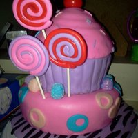 Simply Sweet I made this cake for my birthday. It is complete with handmade fondant gum drops and fondant lollipops. I topped the cupcake with an...