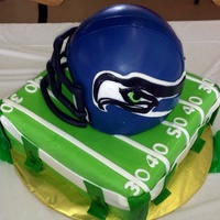 Seahawks Flag Football Cake For My 7 Year Old Helmet is chocolate with pb mousse bottom is white chocolate with raspberry