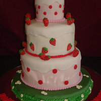 Strawberry Marzipan Ribbon Cake with Butter Icing and spill overs & Strawberries in Marzipan.