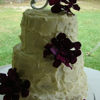 "My First Wedding Cake 3 tiered (10"", 8"", 6""). Icing was a receipe the brides grandma used on all her cakes (somewhere between buttercream and..."