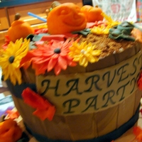 Harvest Basket  This cake was made for my neighbors anual Harvest Party. Cake is Pumpkin Spice with Maple Buttercream. Decorations are fondant. I used 2-8&...