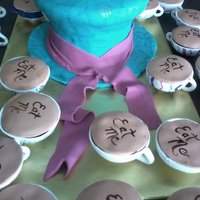 Mad Hatter Bridal Shower Tea Party Centerpiece Mad Hatter cake with gumpaste teacup cakes (30 total - each uniquely hand painted).