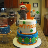 Sock Monkey I was asked to make a sock monkey cake for my grandson's 1st birthday cake. This was the final project. I tried making a sock monkey...